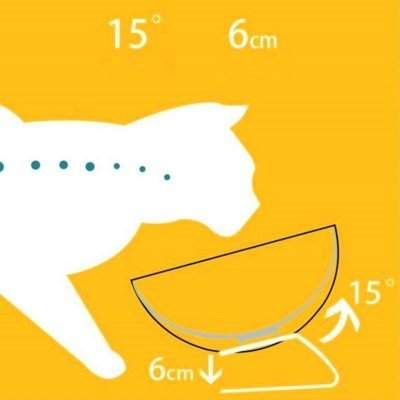 Decorative Cat Shaped Double Bowl for Food and Water with 15° Tilt 5