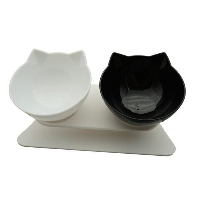 Decorative Cat Shaped Double Bowl for Food and Water with 15° Tilt 1
