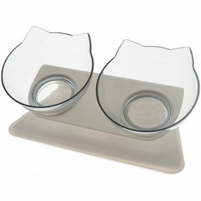 Decorative Cat Shaped Double Bowl for Food and Water with 15° Tilt 3
